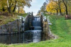 Втройне канал шлюза в Швеции Стоковая Фотография