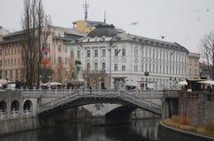 Втройне мост в зиме Стоковые Изображения RF