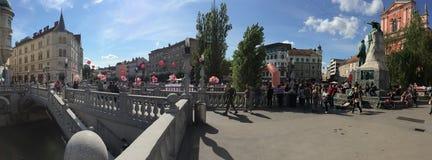 Втройне мост Любляна Стоковое Изображение