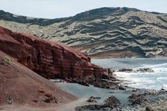 Вулканическая береговая линия Лансароте Стоковые Изображения RF