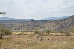 Вулканические ландшафты на озере Magadi, Кении стоковые изображения rf