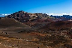 Вулканический кратер на национальном парке Haleakala на острове Мауи, Гаваи Стоковая Фотография RF