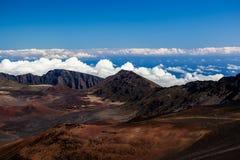 Вулканический кратер на национальном парке Haleakala на острове Мауи, Гаваи Стоковые Фото
