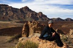 вулкан tenerife hiker Стоковое Изображение