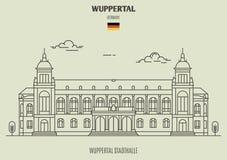 Вупперталь Stadthalle в Вуппертале, Германии Значок ориентир ориентира стоковые изображения rf