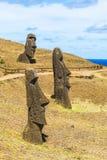 Вулканическая каменная статуя на национальном парке Rapa Nui Стоковые Фотографии RF
