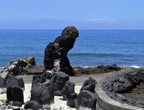 Вулканическая порода пляжа Playa De Las Америк Стоковая Фотография