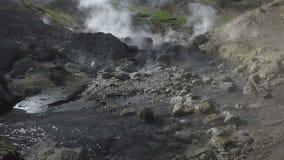 Вулканические горячие источники: газ, пар и пропуская поток с термальной водой акции видеоматериалы