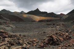 Вулканический ландшафт вокруг вулкана Сьерры Negra Стоковые Изображения RF