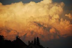 Вулканический заход солнца Стоковые Изображения RF