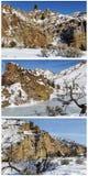 Вулканический коллаж снега горы скал образования Стоковая Фотография