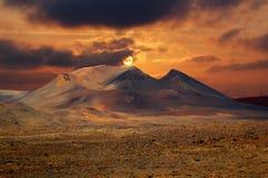 Вулканический парк Timanfaya на Лансароте стоковое фото rf