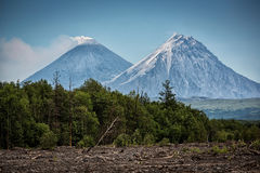 Вулканы Kamen и Kluchevskoy, Камчатка Стоковые Изображения