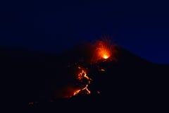 Вулкан Этна, Сицилия, Италия 08/2014 Стоковое Изображение