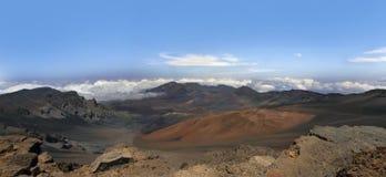 Вулкан Haleakala, Мауи, Гаваи панорама Стоковая Фотография