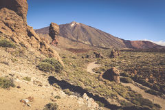 Вулкан Pico del Teide, национальный парк El Teide, Тенерифе, канерейка Стоковые Изображения