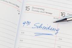 Вход в календар: развод стоковая фотография rf