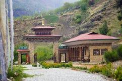 Вход к Национальному музею Установленный в 1968, в старых животиках-dzong строя, над Rinpung Dzong Paro стоковое фото