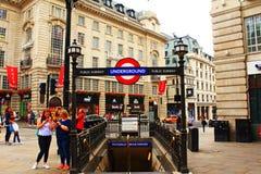 Вход Лондон Великобритания станции цирка Piccadilly Стоковая Фотография