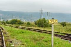 вход отсутствие знака Железная дорога Circum-Байкала Часть между Slyudyanka и Kultuk Россия Стоковое Изображение RF