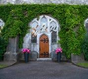 Вход с деревянной дверью покрытой с плющом стоковые фото