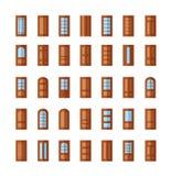 Вход и французские стеклянные двери Плоский комплект значка Стоковое фото RF