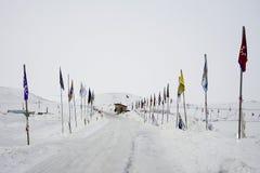 Вход к лагерю Oceti Sakowin, пушечное ядро контрольного пункта, Северная Дакота, США, январь 2017 стоковое фото rf