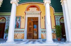Вход к греческой церков Городок Samos Стоковая Фотография RF
