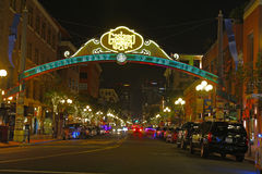 Вход к кварталу Gaslamp Сан-Диего, Калифорнии Стоковая Фотография RF