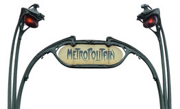 Вход к метро изолированному на белизне Стоковое Изображение