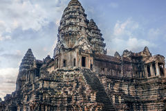 Вход к структурам башни Angkor Wat Стоковые Изображения
