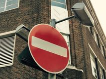 вход отсутствие дорожного знака Стоковое Фото
