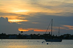 Вход реки St. Lucie на заходе солнца Стоковые Фотографии RF