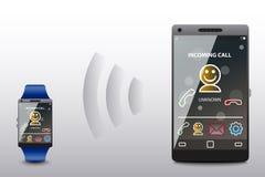 Входящий звонок в умном телефоне и умном вахте Стоковое фото RF