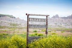 Входя в индейская резервация Риджа сосны, Южная Дакота, США стоковое изображение