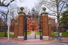 Въездные ворота и разъединяют Hall на дворе Гарварда в Кембридже Стоковые Фотографии RF