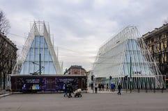 Въездные ворота экспо в милане, Италии стоковые фотографии rf