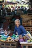 Въетнамская женщина продающ товары на рынке в Hoi, Вьетнаме стоковые фотографии rf
