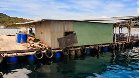 Въетнамские плавая дома деревни на тропическом острове сток-видео