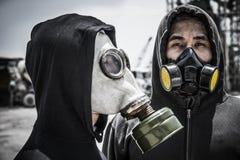 Въетнамские люди в масках противогаза Стоковые Изображения RF