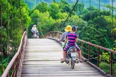 Въетнамский велосипед катания женщины на мосте на сельской местности Вьетнама стоковые изображения rf