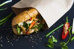 Въетнамский сандвич на предпосылке стоковые изображения rf