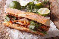 Въетнамский сандвич Banh Mi свинины с концом Cilantro и моркови Стоковое фото RF