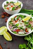 Въетнамский суп лапши Pho говядины Bo с говядиной на темной предпосылке стоковое изображение