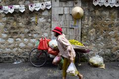 Въетнамский уличный рынок женщины в Ханое Стоковая Фотография