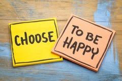 Выберите быть счастливым советом стоковые изображения rf