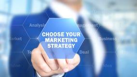Выберите вашу маркетинговую стратегию, человека работая на голографическом интерфейсе, визуальном стоковое изображение
