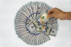 Выберите вверх 100 долларов США стоковые изображения rf