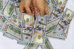 Выберите вверх 100 долларов США стоковое изображение
