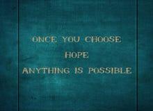 Выберите веру что-нибудь надежды возможное тип оформления стоковое изображение